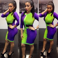 free shipping 2014 Summer Colors patchwork sexy women bodycon bandage dress Vintage party evening club night party dresses $13.99