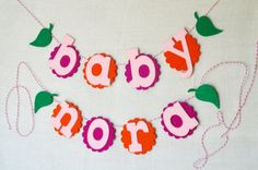 Baby Shower Spring Flowers Felt Name Banner by String Dearie Studio