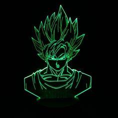 Dragon Ball Z Super Saiyan 3 Goku Action Figures 3D Table Lamp Color Changing //Price: $29.8 & FREE Shipping //