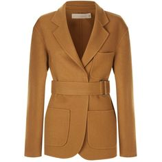 Victoria Beckham Belted Wool Jacket (573.920 HUF) ❤ liked on Polyvore featuring outerwear, jackets, victoria beckham, wool jacket, brown cinch jacket, victoria beckham jacket and woolen jacket