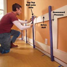 How to Build a Wainscoted Wall clamp rails and stiles together wood wainscoting panels Wainscoting Styles, Wainscoting Panels, Beadboard Wainscoting, Baseboard Trim, Door Molding, Moldings And Trim, Crown Molding, Dining Room Wainscoting, House Trim