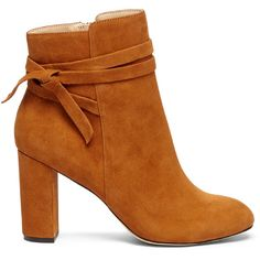 Sole Society Flynn Wrap Around Bootie ($44) ❤ liked on Polyvore featuring shoes, boots, ankle booties, ankle boots, booties, chestnut, short boots, ankle bootie boots, suede leather boots and short suede boots