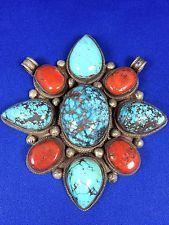 Nepalese Sterling Silver Flower Pendant With Spider WEB Turquoise AND Coral | eBay