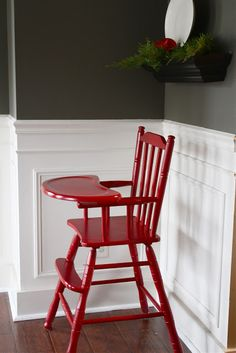 The Yellow Cape Cod: Holiday Home Series: Christmas Dining Room On A Dime Cute Desk Chair, Chair Redo, Diy Chair, Vintage High Chairs, Wooden High Chairs, Painted High Chairs, New Furniture, Painted Furniture, Bar Chairs