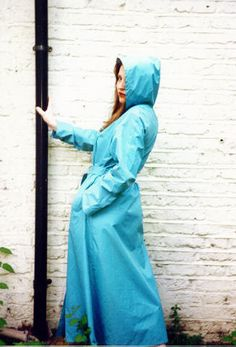 Pale Blue Rubber Hooded Raincoat
