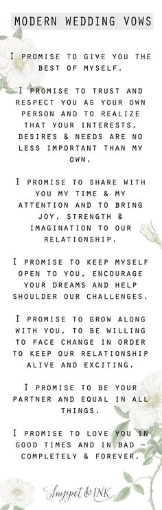 Save this for your wedding day because we have the sweetest and simplest modern wedding day vows you'll want to steal for your own wedding! wedding quotes Modern Wedding Vows You'll Want To Steal! Modern Wedding Vows, Wedding Goals, Wedding Tips, Wedding Engagement, Fall Wedding, Wedding Ceremony, Our Wedding, Dream Wedding, Wedding Vows To Husband