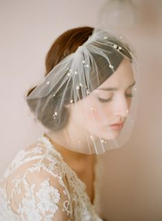 Mini tulle veil with pearls - Style # 212 - Ready to Ship | Veils | Twigs & Honey ®, LLC