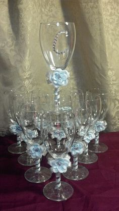 Glassware for a sweet 15, Cinderella theme.