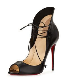 Mega Vamp Lace-Up Red Sole Pump, Black by Christian Louboutin at Neiman Marcus.