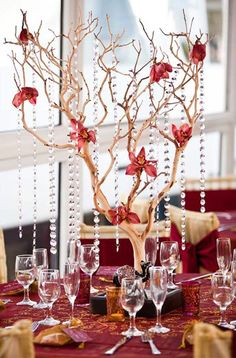 Decoration, Amazing Picture Nice Branch Wedding Centerpiece With Hanging Crystals Good Small Hanging Lamps Good Picture Nice Small Glass Picture: The Unique Designs Of Christmas Wedding Centerpieces With The Nice Accessory Indoor Wedding Decorations, Wedding Reception Centerpieces, Wedding Table Centerpieces, Tall Centerpiece, Centrepieces, Centerpiece Ideas, Manzanita Centerpiece, Tree Branch Centerpieces, Vintage Centerpieces