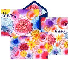 Margaret Berg Art: Floating Florals Thank You Cards