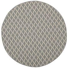 "Safavieh Poolside Anthracite/Beige Indoor/Outdoor Geometric Rug (5'3"" Round) - Overstock™ Shopping - Great Deals on Safavieh 7x9 - 10x14 Rugs"