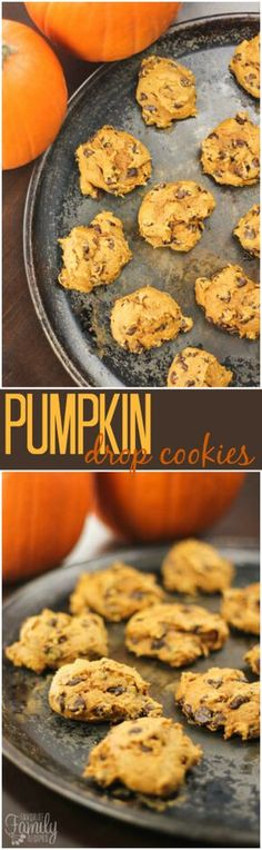 Only 3 ingredients in these Pumpkin Drop Cookies!  They are super simple to make and they taste just like the Pumpkin Chocolate Chip Cookies you buy at the grocery store. via @favfamilyrecipz