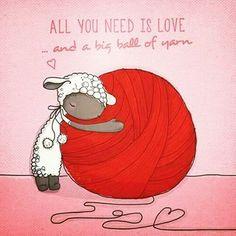 """ink-in-the-skin: """" Tudo que você precisa é amor, e uma grande bola de lã.🐑 . Bom dia pessoas lindas. Tenham um ótimo final de semana. Quem é do Paraná, como eu, aproveita o frio⛄☔ faz um chá, e coloca as encomendas em dia. 😱😻💖💖. . . . . #crochê..."""