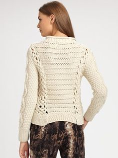 Like the front and back of this but not crazy about the rib edging. Honeycomb in front double moss stitch on sleeves ...lots of great texture and cables  Yigal Azrouel - Cable-Knit Wool Sweater - Saks.com
