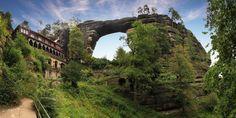 Pravčická brána (Pravčice Gate) - Europe's largest natural bridge comes with a picturesque royal chateau built into its side. Travel Advisory, Natural Bridge, Versailles, Czech Republic, Arches, Cool Places To Visit, Beautiful World, Wonders Of The World, Gates