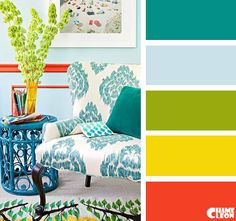 Color Palette, turquoise blue, yellow, light sky blue, salmon, lime green.
