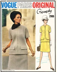 1960's VTG VOGUE PARIS ORIGINAL Two Piece Dress Givenchy Pattern 2105 12