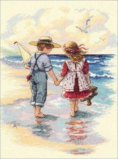 Cross Stitch Craze: Beach Cross Stitch Holding Hands
