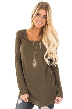 Olive Long Sleeve Round Neck Top front close up