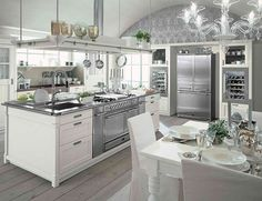 love the white and gray; the stove in the island; and the wine fridge. Farmhouse Style Kitchen Interior by Minacciolo - English Mood.