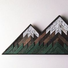 Wood Mosaic Double Peak Mountain Art by BearHandsGoods on Etsy  Order an oil painting of your pet now at www.petsinportrait.com