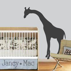 Giraffe Wall Decal Vinyl Peeking Giraffe Wall by JaneyMacWalls