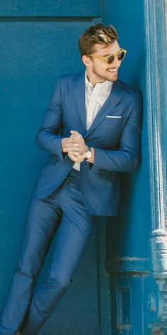 mrxlifestyle: blue suiting with no tie to keep it casual