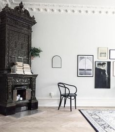 my scandinavian home: Kakelugn (masonry oven) A Swedish apartment in soft white and grey hues