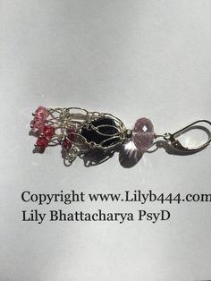 EAD2015, Pink Quartz, Amethyst, Silver Dangling Earrings, etsy jewelry, Lilyb444,