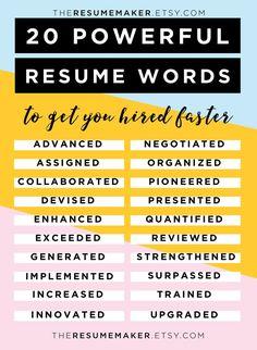 Resume Power Words, Free Resume Tips, Resume Template, Resume Words, Action Words, Resume Tips College, Resume Help, Resume Advice