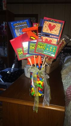 Ultimate Father's Day bouquet! Lottery tickets candy and giftcards!