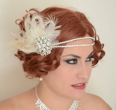 MADE TO ORDER,Peacock Gatsby headpiece,Peacock feather headpiece,Champagne and Ivory Gatsby headpiece,1920s headpiece,Crystal rhinestone