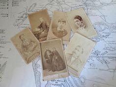 Victorian Carte de Visite Photograph Calling Cards Vintage  Photos CDV Paper Ephemera Group of Six AtomicPutz.com