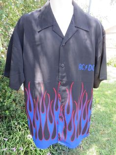 DRAGONFLY SHIRT ACDC  Biker Bowl Rock Golf NEW Black Large FLAMES #Dragonfly #ButtonFront