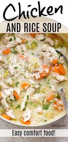 This easy chicken and rice soup recipe is homemade comfort food at its best. It's healthy, cozy, hearty, and ready in just over 30 minutes! Puree Soup Recipes, Italian Soup Recipes, Vegetable Soup Recipes, Chowder Recipes, Easy Soup Recipes, Dinner Recipes, Rice Recipes, Casserole Recipes, Appetizer Recipes