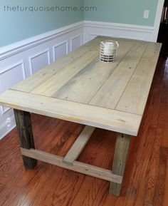 When the Mr. and I have a wood shop =) Maybe adding turned legs   DIY Farmhouse Table