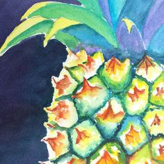 Pineapple Original Watercolor Painting, Tropical fruit art, Food art, Kitchen art, Hawaiin fruit from CarlinArtWatercolor on Etsy. Pineapple Painting, Pineapple Art, Fruit Painting, Pineapple Watercolor, Watercolor Paintings, Original Paintings, Watercolor Ideas, Watercolours, Original Artwork