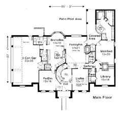 First Floor Plan of Colonial   European   French Country   House Plan 97802