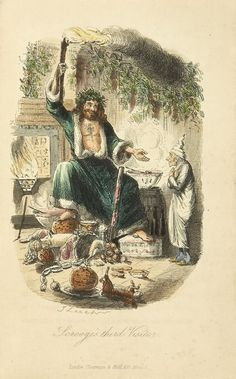 Scrooge's third visitor, from Charles Dickens: A Christmas Carol    Illustrations by John Leech    1843.    First edition.