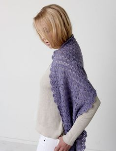 Yarnspirations.com | Crocheted in an icy winter lavender, this wrap is worked in Patons Lace. This intermediate pattern is made using the broomstick lace technique, which creates its intricate texture.