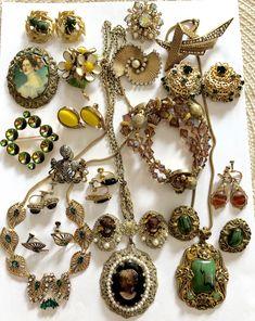 70800452f75 Vintage Jewelry Lot Trifari West Germany Florenz Krementz BSK Gold Filled  Rhinestone