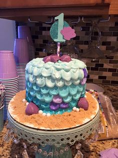 Julia's under the sea / mermaid smash cake I made! 10 Birthday Cake, 1st Birthday Girls, First Birthday Parties, First Birthdays, Birthday Ideas, Little Mermaid Birthday, Little Mermaid Parties, Baby Cake Smash, Sea Cakes