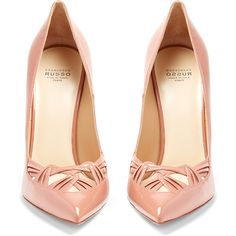 Sophisticated eveningwear calls for ?feminine footwear, and Francesco Russo's glossy antique-pink patent-leather pumps are the perfect?  choice.  They're shape…