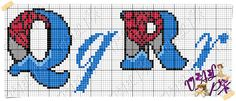 Q & R Bead Loom Patterns, Stitch Patterns, Marvel Cross Stitch, Spiderman, Plastic Canvas Letters, Crochet Letters, Cross Stitch Letters, Alphabet Design, Joker And Harley Quinn