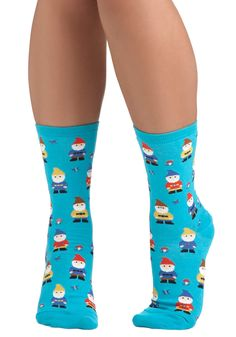 Make Yourself Gnome Socks. Have a playful day in these delightful elfin-print socks! #blue #modcloth