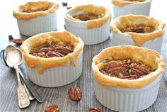"""Rustic Ramekin Pecan Pies- Why is it things in ramekins make me go """"Awwww, look...it's an individual serving in a ramekin!"""""""