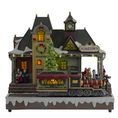 Northlight LED lighted Christmas village With Turning Function And Music, Clear Christmas Village Houses, Christmas Village Display, Cottage Christmas, Christmas Villages, Pink Christmas, Victorian Christmas, Indoor Christmas Decorations, Led Christmas Lights, Christmas Mantels