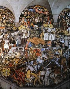 The History of Mexico, 1935 by Diego Rivera. Muralism. history painting. National Palace, Mexico City, Mexico