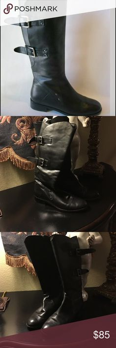 """Sanzia Journey Plus boots From Nordstrom, these adjustable-calf Sanzia boots fit your rocker to equestrian looks. Black leather upper with two adjustable antique silver buckles that go from a 14"""" circumference to 17"""". I have a 17"""" calf, and I've worn these boots with leggings and thin jeans. Heel height is 1 1/4"""", shaft height is 14"""".  In great condition, but a few minor scuffs. Lots of life left in these beauties. Sanzia Shoes Winter & Rain Boots"""
